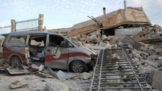 Damaged medical facility in Kafranbel, Syria on 5 April 2019