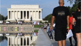 Demonstrators arrive in Washington