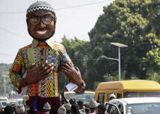 in_pictures A giant puppet of Amílcar Cabral seen on the streets of Bissau, Guinea-Bissau - Thursday 21 November 2019