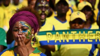 A Gabonese football fan blows a kiss at a Africa Cup of Nations match in Libreville, Gabon - Wednesday 18 January 2017