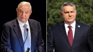 George Soros (left) and Viktor Orban (right)