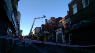 Crews at the scene in Derby