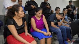 (L-R) Tomasa Rocha, Esneyda Orozco, evangelical pastor Juan Gregorio Rocha Romero, Franklin Jarquin and Pedro Rocha, all accused of murder and simple abduction, attend court in Managua, Nicaragua, 09 May 2017.