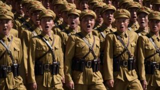 Korean People's Army (KPA) soldiers march during a mass rally on Kim Il Sung square in Pyongyang on September 9, 2018