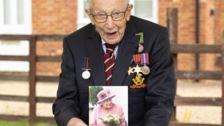 Capt Tom Moore and his card from the Queen