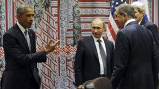 Obama iyo Putin oo ku kulmay xaruunta Qaramada Midoobay ee New York sanaddii 2015-kii