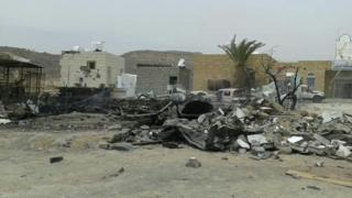 Aftermath of air strike that damaged Kitaf rural hospital in north-western Yemen (26 March 2019)