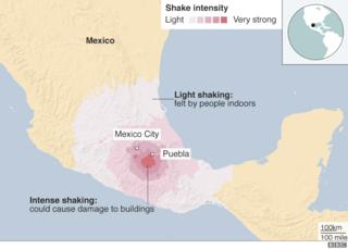 Map showing shake intensity of Tuesday's earthquake