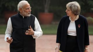 Narendra Modi and Theresa May