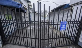 Closed gates at a market in Brest