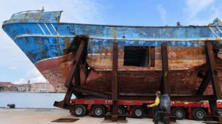 "The fishing vessel ""Barca Nostra"" (Our Ship) that sank on April 18, 2015 trapping hundreds of migrants in its hull, is being installed in Venice's former shipyards as part of the centerpiece of a new art project by Swiss-Icelandic artist Christoph Buechel, prior to the the 58th International Art Exhibition of the Venice Biennale, on May 7, 2019 in Venice. - The 58th International Art Exhibition will open to the public from May 11 to November 24, 2019."