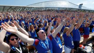 Iceland fans thunder clap in Moscow