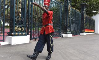 A presidential guard marching outside the presidential palace in Dakar, Senegal - Wednesday 29 August 2018