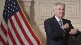Jerome Powell arrives to takes a promise of bureau as he is sworn-in as a new Chairman of a Federal Reserve (FED) during a Federal Reserve Building in Washington, DC, Feb 5, 2018.