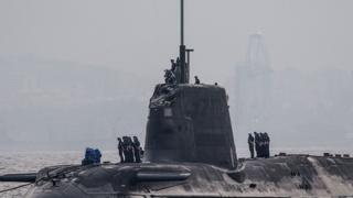 HMS Ambush in arriving in Gibraltar on 20 July 2016