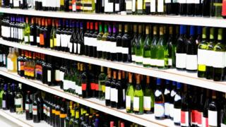 Bottles of wine on store shelves