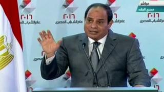 Mr Sisi during speech in Cairo