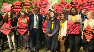 Lib Dem leader Tim Farron with party supporters in south-west London