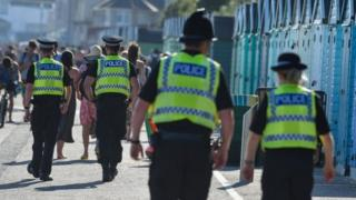 Police patrol the beach in Bournemouth on Thursday 25 June