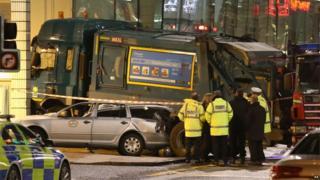 Bin lorry crash scene
