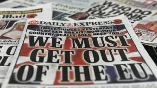 Newspaper headlines on the court ruling