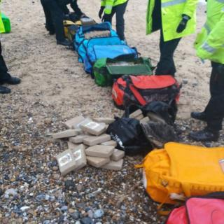 Bags found on a beach at Hopton