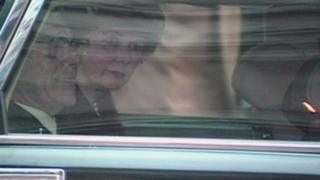 Margaret Thatcher in tears as she leaves Ten Downing Street after her resignation as Prime Minister