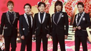 Japanese boy band SMAP perform on stage for Dragon TV Lunar New Year Gala on January 11, 2012 in Shanghai, China