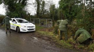 Officers search in hedges and grass by the side of a road