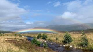 rainbow between the showers at Glen Feshie
