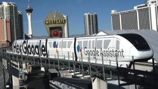 Google Assistant branding on a Monorail train in Las Vegas