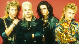 Brooke McCarter (left) with Lost Boys co-stars Kiefer Sutherland, Billy Wirth and Alex Winter
