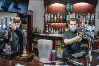 Bar staff at The Angel Inn, Wooler. July 4, 2020