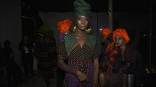 A model wearing Rama Diaw's design at Dakar Fashion Week in Dakar, Senegal