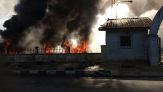 Fire wey dey burn for inside one compound