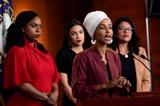 US Democratic congresswomen Ayanna Pressley, Alexandria Ocasio-Cortez, Ilhan Omar and Rashida Tlaib hold a news conference