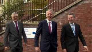 Finance ministers from Scotland, Wales and Northern Ireland emerge from talks in Newry