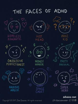 The faces of ADHD. Dani has doodled faces representing different personalities. These are 'hopeless romantic', 'hot head', 'whiz kid', 'obsessive perfectionist', 'money maker', 'party animal', 'anxious wreck', 'space cadet' and 'super hero'.