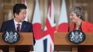 Shinzo Abe and Theresa May on Thursday