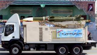 Truck carrying a Raad missile during parade in Tehran (Feb 2016)