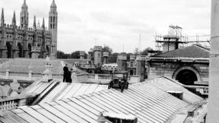 An Austin 7 on the roof of the Senate House
