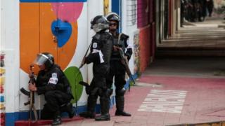 Riot police in Monimbo in Masaya, Nicaragua, 14 July 2018