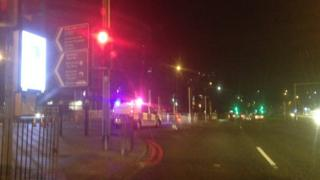 Police close the entrance to Belgrave Middleway from Bristol Road