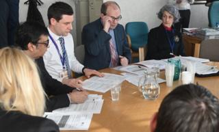 Senior health officials in Northern Ireland speak to the press about coronavirus