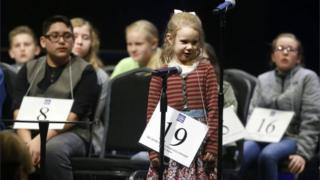 Edith Fuller, 5, spells a word during the 2017 Scripps Green Country Regional Spelling Bee in Tulsa, Oklahoma.