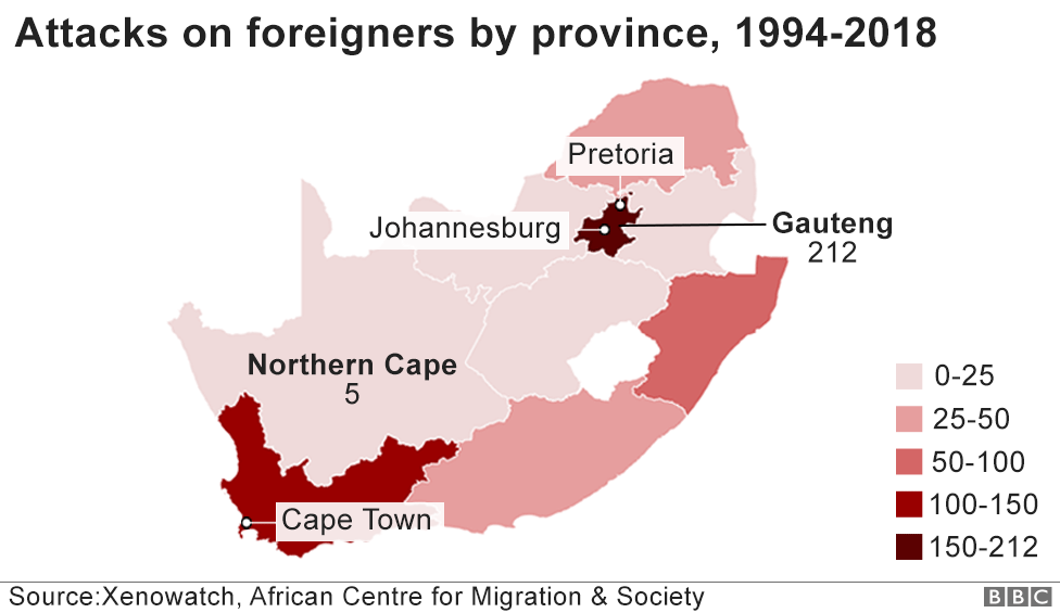 Map showing attacks on foreign nationals