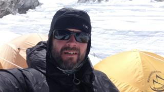 Leslie Binns at camp one on Mount Everest