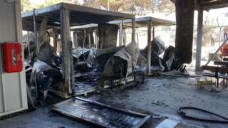 Gutted temporary EU offices, Lesbos, 24 Oct 16