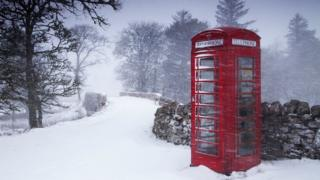 Phonebox in snow in Braemore in Caithness