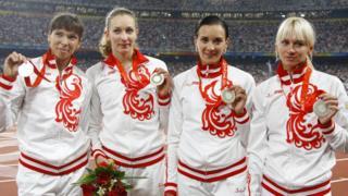 Российская женская эстафетная сборная с серебряными медалями пекинской Олимпиады